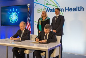 Headline: IBM Signs Agreement with Italian Government on First-of-its-Kind Watson Health Center of Excellence in Italy Caption: IBM CEO Ginni Rometty and Italian Prime Minister Matteo Renzi witness the signing of an agreement for the planned Watson Health European Center of Excellence in Milan, near the country's Human Technopole Italy 2040 research campus. The agreement was signed during a visit by Prime Minister Renzi to IBM's new Watson Health global headquarters in Cambridge, MA. Seated from left to right: Erich Clementi, SVP, IBM Europe; Hon. Ivan Scalfarotto, Undersecretary at Italian Presidency of Council. Standing from left to right: Ginni Rometty, Chairman, President and CEO, IBM; Hon. Matteo Renzi, Prime Minister of Italy. For more information, please contact Lorie Fiber, IBM, lfiber@us.ibm.com. For more information ((Photo copyright: Daniel Goodrich)